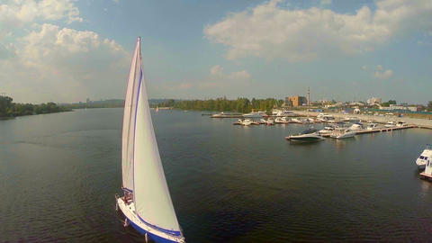 Yachting on wide city river. Outdoor activities, summer vacation Footage