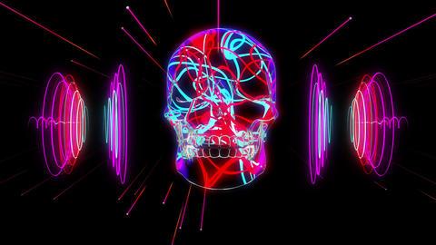 Acid Skull 4K 01 Vj Loop Animation