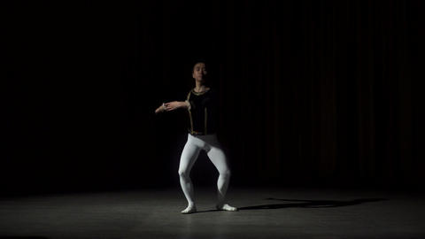 Asian Dancer Practicing In Theater Footage
