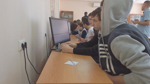 College in Chapaevsk city. Students in front of computers in a computer class Live Action