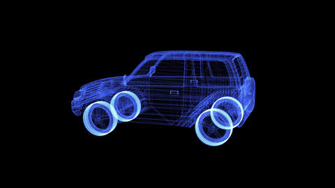 Hologram of a rotating modern mini Suv Live Action