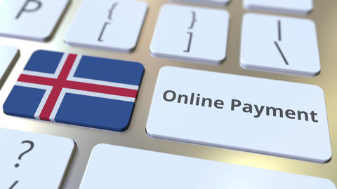 Online Payment text and flag of Iceland on the keyboard. Modern finance related Live Action