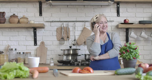 Positive senior retiree talking on the phone in kitchen at home. Portrait of Live Action