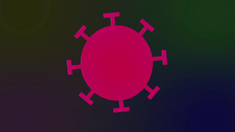 Red coronavirus cell on gradient Live Action