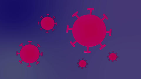 Red coronavirus cells spinning on gradient Live Action