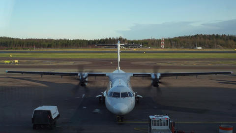 Helsinki / Finland - November 1 2019: Helsinki airport Finnair plane taxiing from the gate Live Action