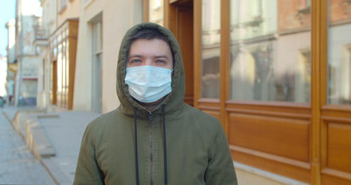 Pandemic protection of the Covid-19 coronavirus. Portrait of a caucasian man in Live Action