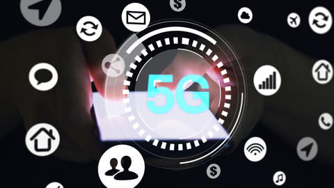 finger touch Mobile phone screen in the dark and 5g network concept ライブ動画