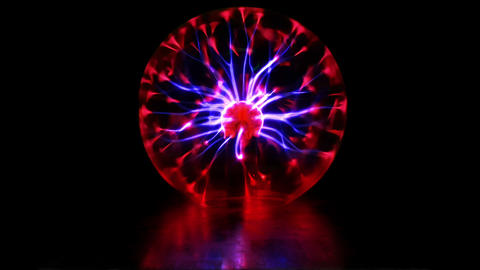 Plasma ball discharge lamp with high voltage lightning Animation