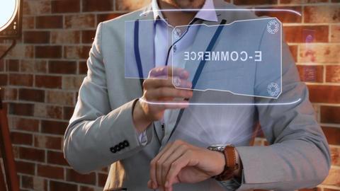 Man uses smartwatch hologram E-commerce Live Action