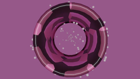 Purple patterned disc rotating and zooming on light purple background, flying Animation
