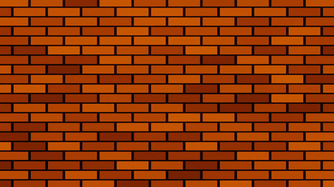 Brick wall building animation, red bricks randomly appearing on black background Animation