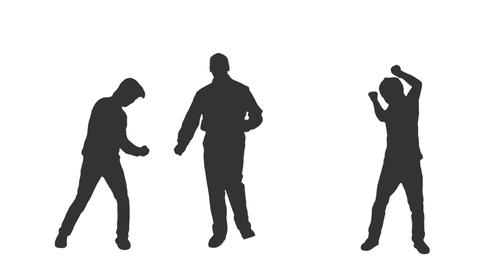 Silhouettes of three young men dancing, Full HD shot with alpha channel Footage