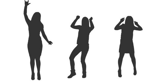 Three dancing girls in silhouette, Full HD shot with alpha channel Footage
