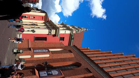 Catholic church of the Jesuits in Warsaw. Poland. 4K. Vertical frame Live Action