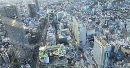 A cityscape from falling elevator at the urban city in Tokyo high angle Live Action