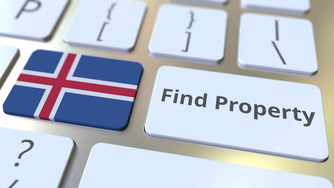 Find Property text and flag of Iceland on the keyboard. Online real estate Live Action