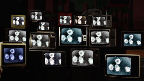 Coronavirus Cells and Retro Televisions. Coronavirus Outbreak Concept Video Live Action