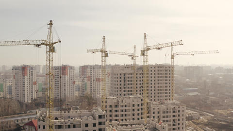 Shot in height of several yellow construction cranes and construction of new Live Action
