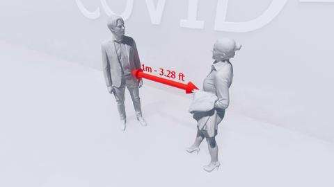 Avoid close contact precautions in COVID-19 virus, Stock Animation