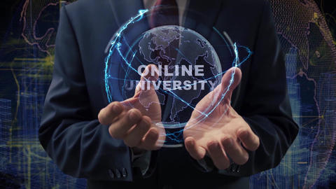 Male hands activate hologram Online university Live Action