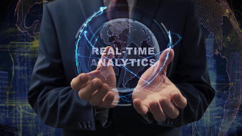 Male hands activate hologram Real-time analytics Live Action