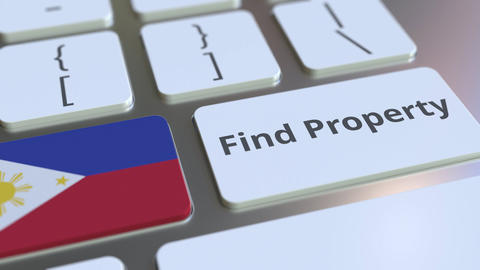 Find Property text and flag of Philippines on the keyboard. Online real estate Live Action