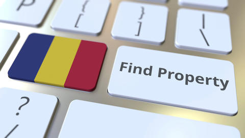 Find Property text and flag of Romania on the keyboard. Online real estate Live Action