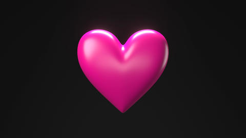 Pink broken heart objects in black background. Heart shape object shattered into pieces Animation