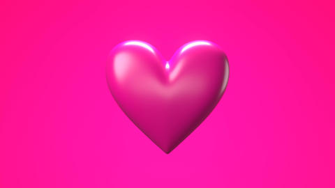 Pink broken heart objects in pink background. Heart shape object shattered into pieces Animation