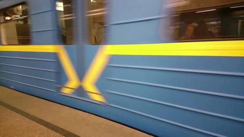 Subway train leaving metro station, gaining speed, moving fast Footage