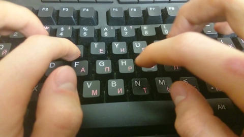 Hands typing on black keyboard, sending business e-mail, message Footage