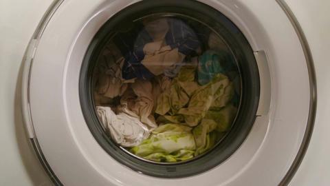 Loaded washing machine on, laundry process, money laundering Footage