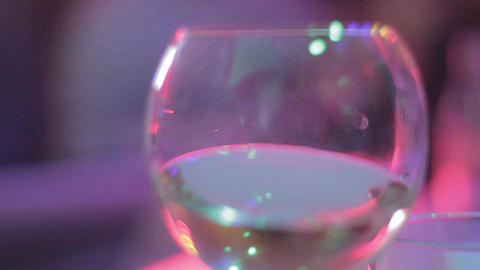 Glass of white wine, celebration at restaurant, alcohol at party Footage