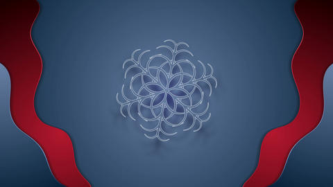 Blue red wavy video animation with big snowflake Animation