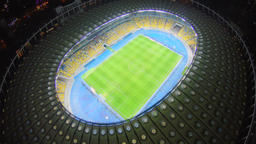 Aerial vertical view of football match, large city stadium, 4k Footage