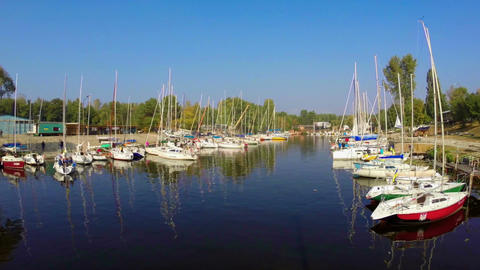 Quiet harbor, many yachts and boats. Outdoor activities, sport Footage
