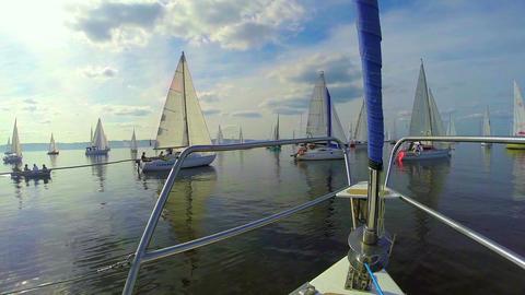 POV many sailing yachts in the sea, regatta, beautiful seascape Footage