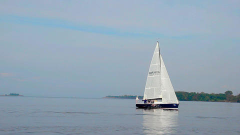 Fast-moving sailboat in sea, yachting, sport, traveling, tourism Footage
