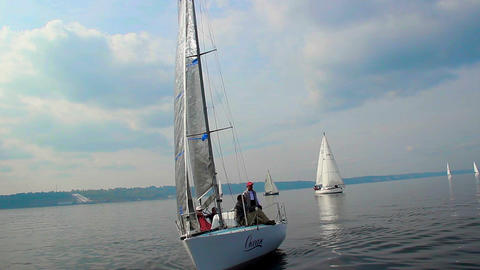 Amazing sailing yacht floating in sea, regatta, sport, hobby Live Action