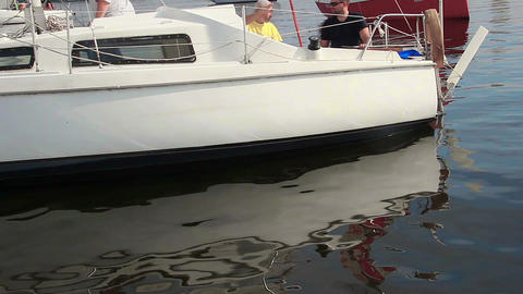 Racing yachts on water, preparing for regatta. Active rest Footage