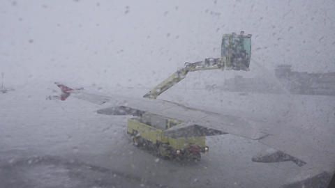 processing aircraft anti-icing in airport 4k Footage