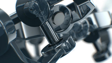 Mechanical parts turning in close-up with DOF. Looped 3d... Stock Video Footage