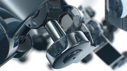 Mechanical parts turning in close-up with DOF. Looped 3d animation. HD 1080 Animation