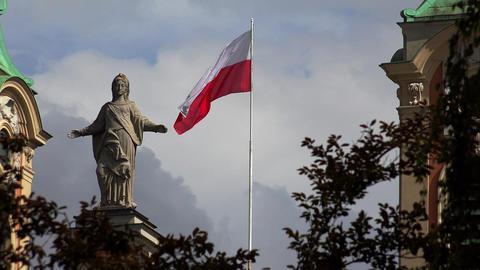 Flag Of Poland. 4K Filmmaterial