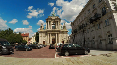The Catholic Church in Warsaw. Poland. 4K Live Action