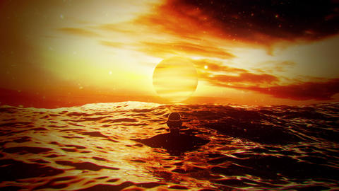 Golden Sunset in the Middle of The Ocean VJ Loop Background Animation