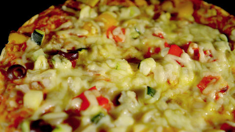 Freshly baked vegetarian pizza with fresh vegetables Live Action