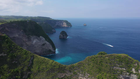Asian landscape view from above of the ocean with turquoise clear water, a great Live Action