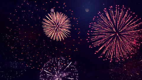 Real Fireworks Display show on Deep Black Sky Loop Animation Background Live Action